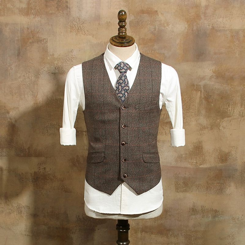 Brown Vintage Mens Plaid Suits Single Breasted Winter Suit Men 3 ...
