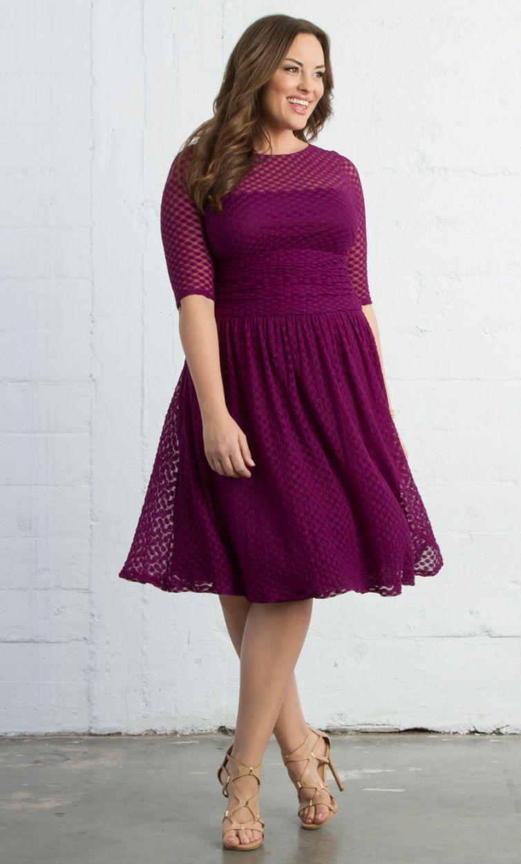 Cocktail dress wedding  Alexa Retro Dot Dress  Raspberry Dream Trendy Curvy  Plus Size