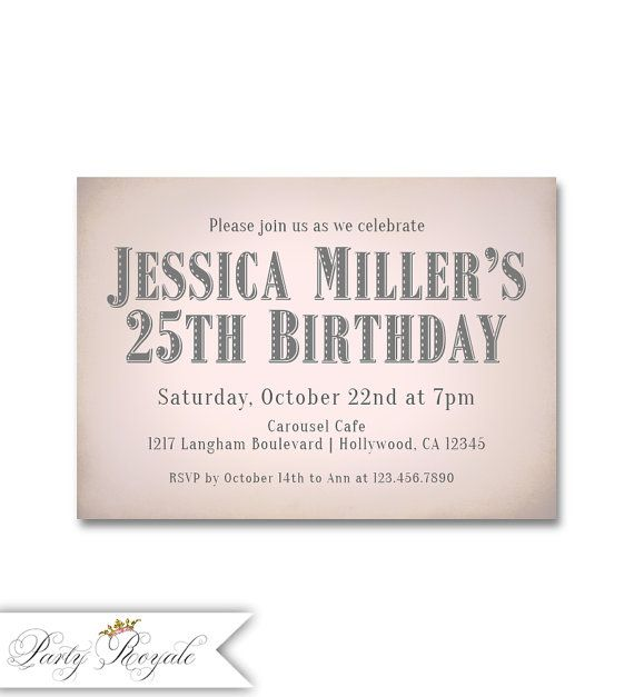 Womens 25th Birthday Party Invitations Refined Sleek Style Surprise