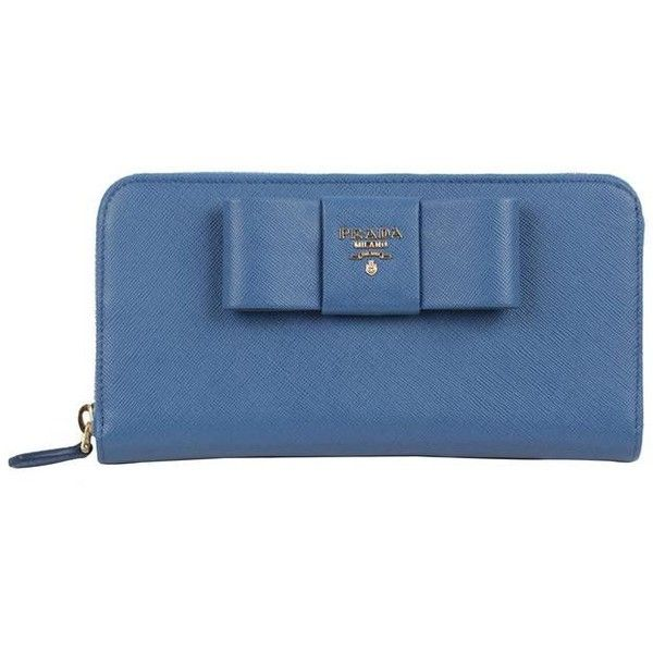 3284ee74c223 Preowned Prada Light Blue Leather Saffiano Fiocco Ribbon Large Wallet...  ( 672) ❤ liked on Polyvore featuring bags