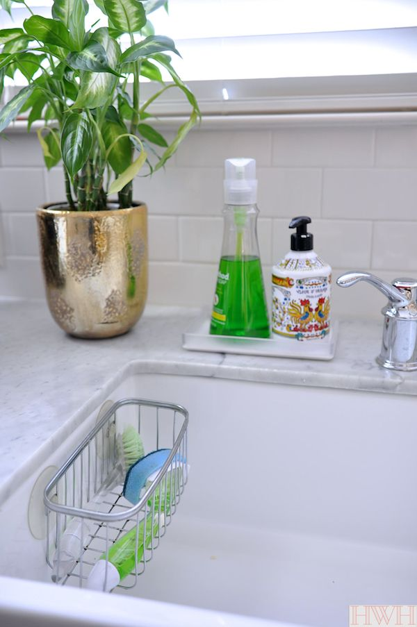 Home Styling Tips The Kitchen Edition Honey We Re Home Kitchen Sink Caddy Kitchen Sink Decor Kitchen Sink Organization