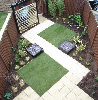 I Like The Simplicity Of This Yard But I Would Add Some Color Garden Design Layout Garden Layout Small Garden Landscape