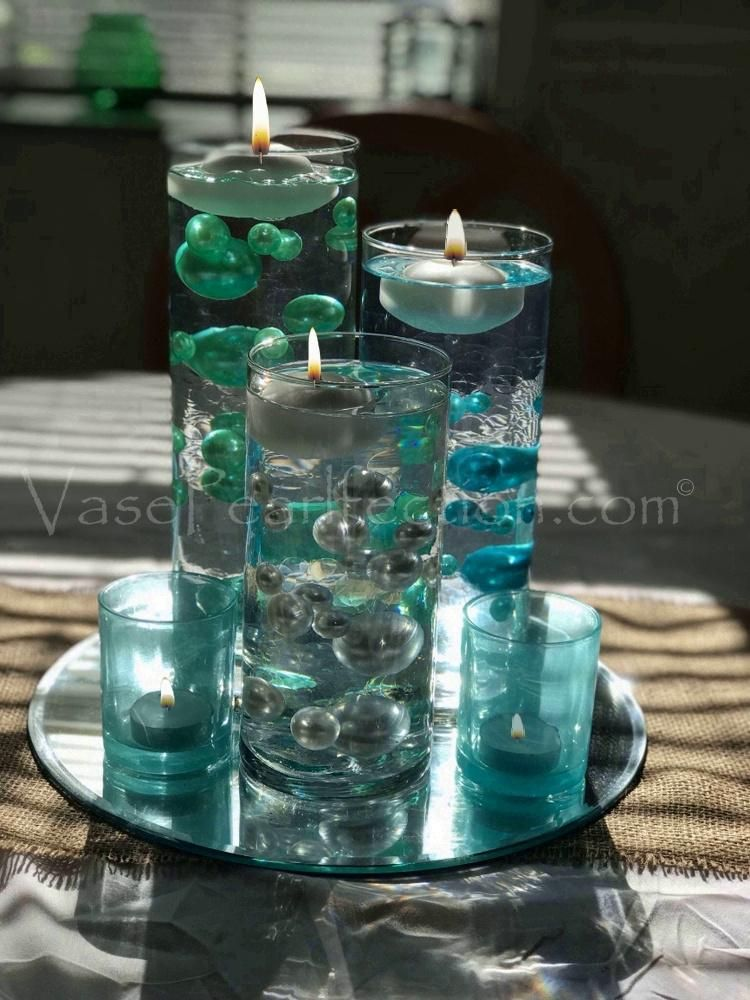 Clearance Mint Blue Pearls Jumbo Assorted Sizes Vase