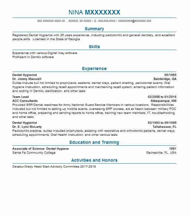 Dental Hygiene Resume, Dental Hygienist