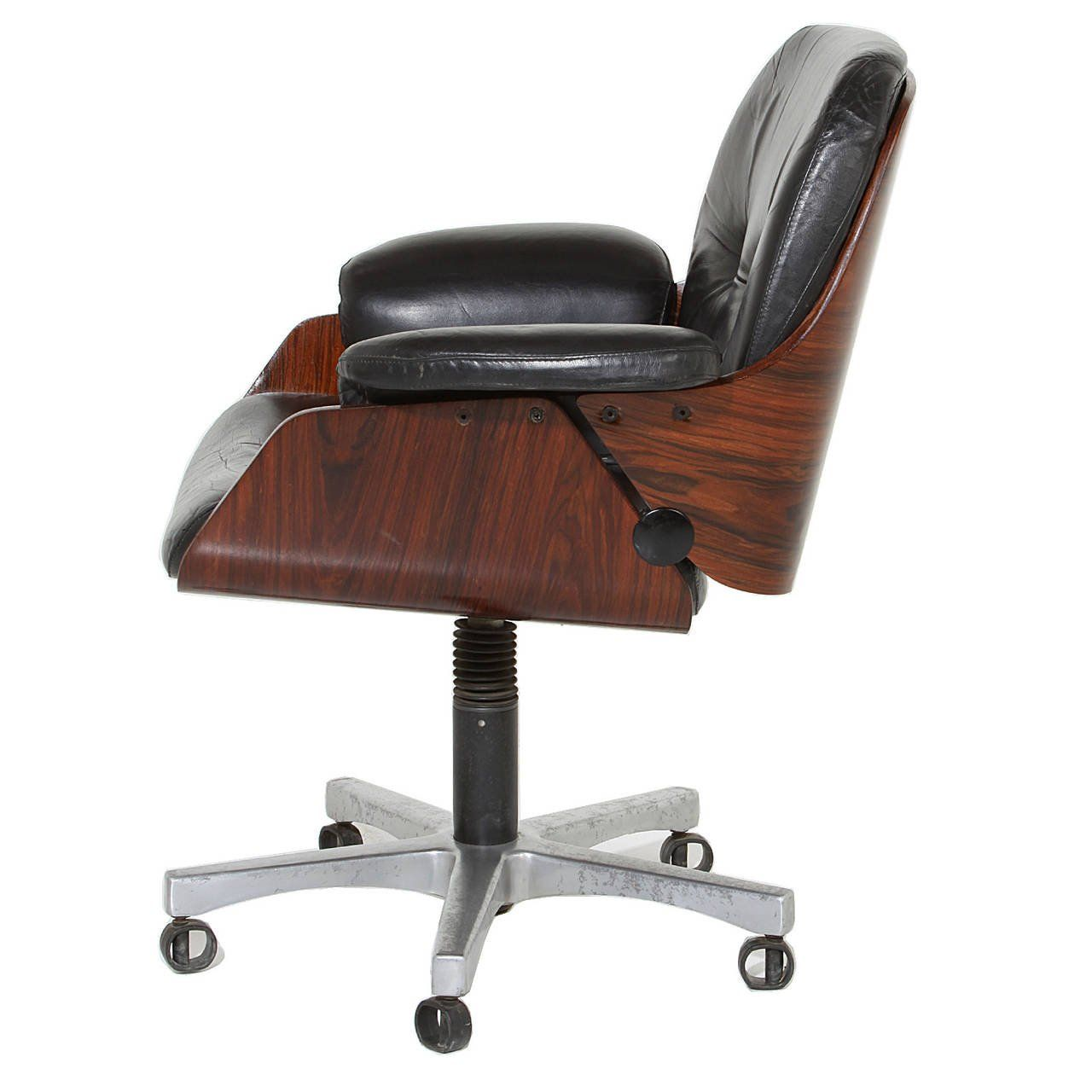 vintage office chairs. Image Result For Vintage Office Chair In Rosewood And Black Leather Swivel Chairs C