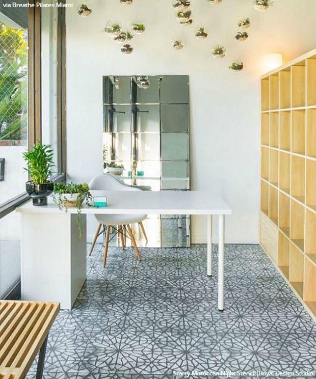 Easy Diy Fix Concrete Floor Stencils Stenciled Floor Painted Concrete Floors Tile Floor Diy