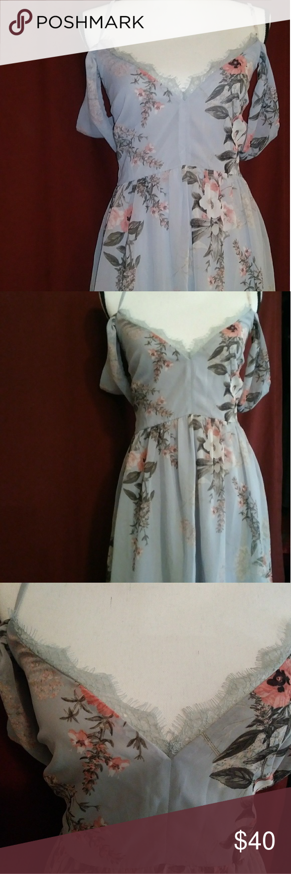 NWT Verona Light Blue Floral Print Off Shoulder L Details From Lulu s site.  Lulus Exclusive 7d30dcfd2