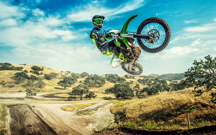 Download Wallpapers Kawasaki Kx450f Extreme 2018 Bikes Flying