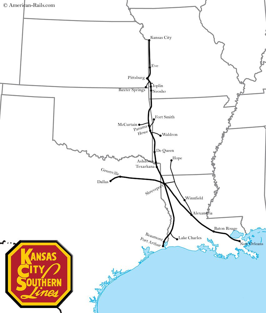The Kansas City Southern Railway This Map Of The KCS Depicts The - Us railroad traffic map