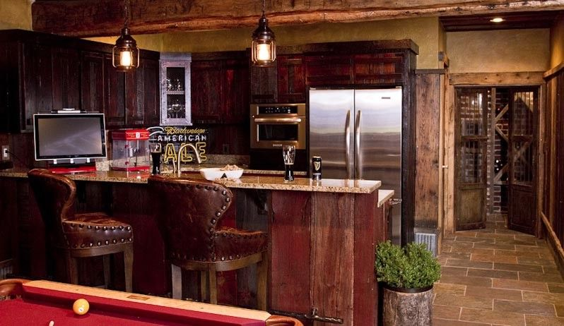Modern Home Bar In Rustic Design With Poker Game Screen On It   Interior  Design Trends
