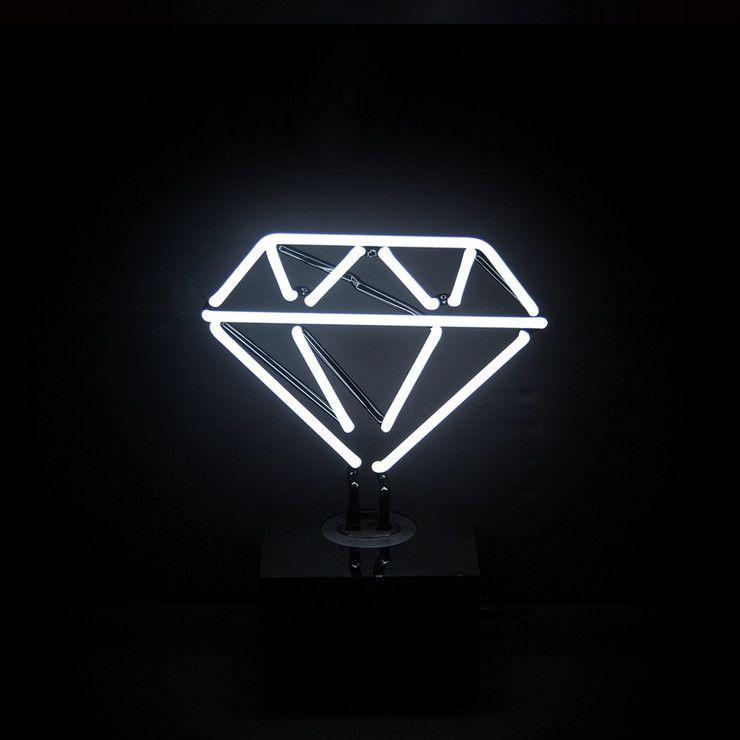desktop neon light diamond leuchtreklame leuchten und. Black Bedroom Furniture Sets. Home Design Ideas
