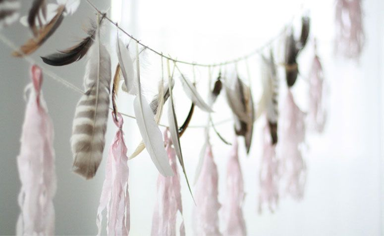 feathers and pink crepe tassels @ FIG AND FAUNA