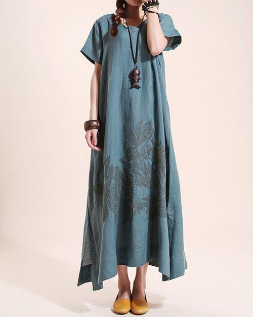 Summer maxi dress Loose linen Short sleeve long dress by MaLieb