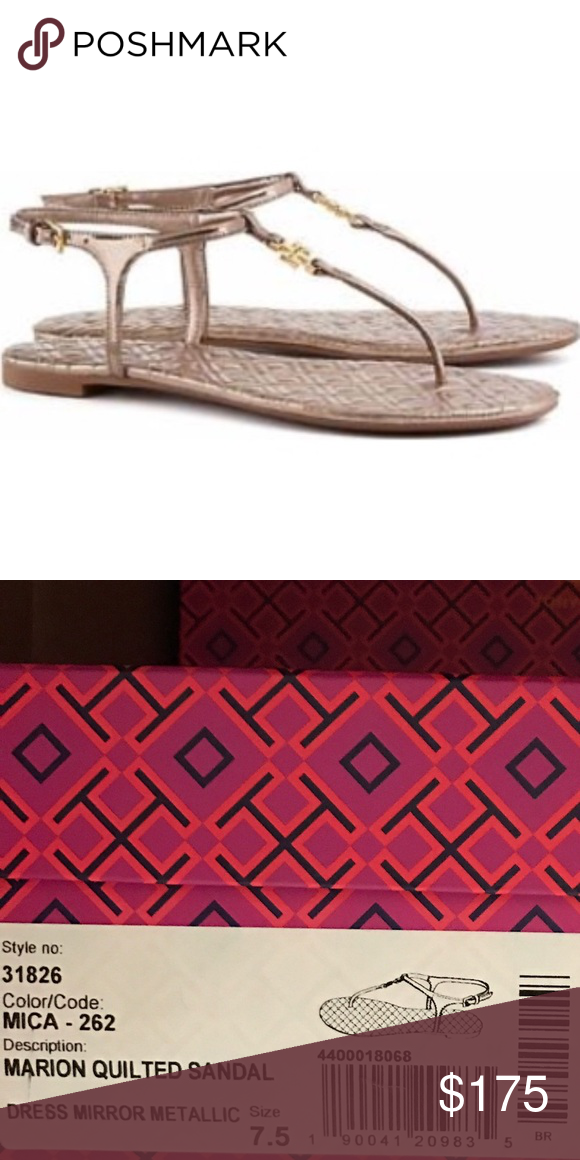 4d03eca5585ebb NIB Tory Burch Marion Quilted Sandals New in the Box Tory Burch Marion  Quilted Sandal in Mica