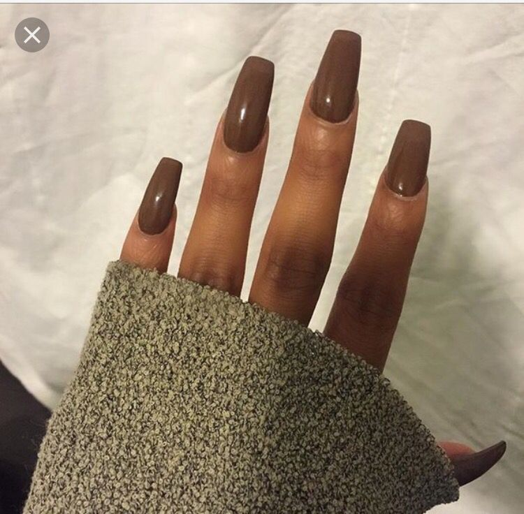 Ballerina Coffin Nails On A Darker Skin Tone Brown Acrylic Nails Brown Nails Trendy Nails