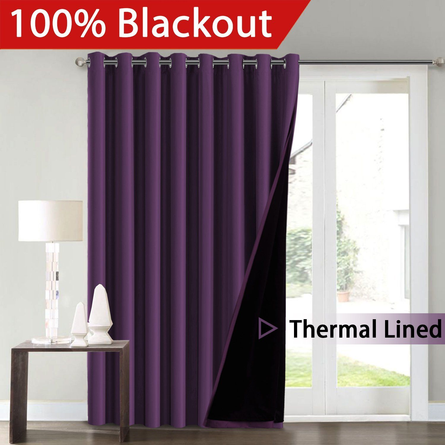 Smile Flamingop Full Blackout White Wide Patio Door Curtains Faux Silk Satin With Black Liner