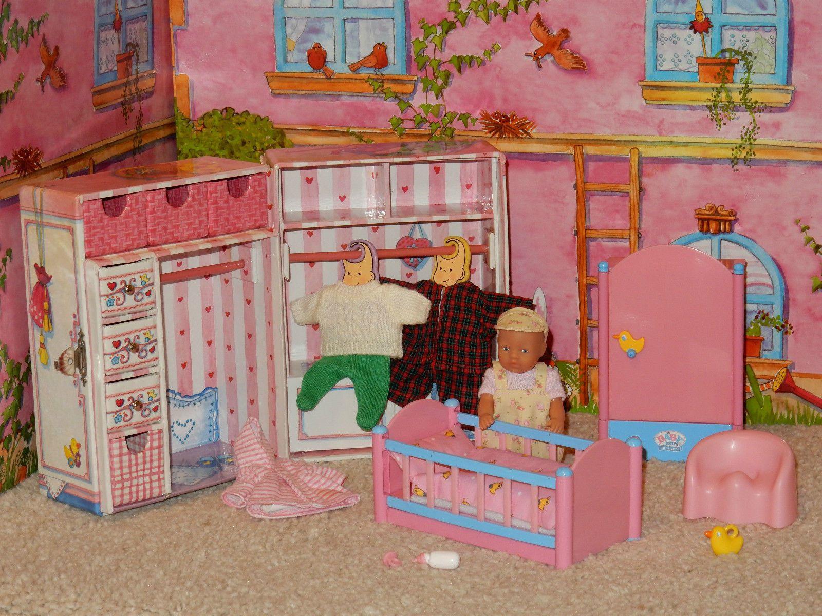 52, Zapf, Mini Baby Born Puppe, Schrank, Bett, Kleidung, Zubehör in ...