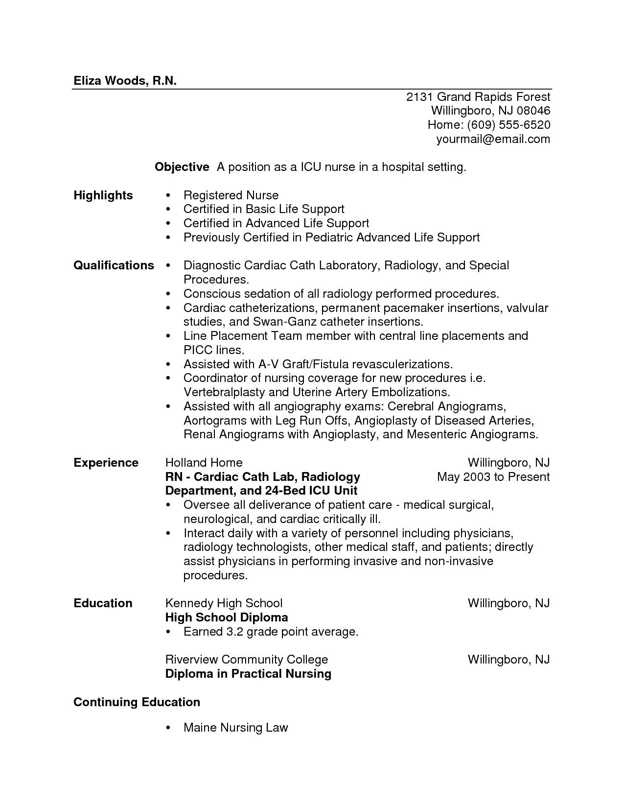 Icu Resumes For Nurses Icu Nurse Resume Sample 4 New Grad Nursing Resume Nursing Resume Nursing Resume Template