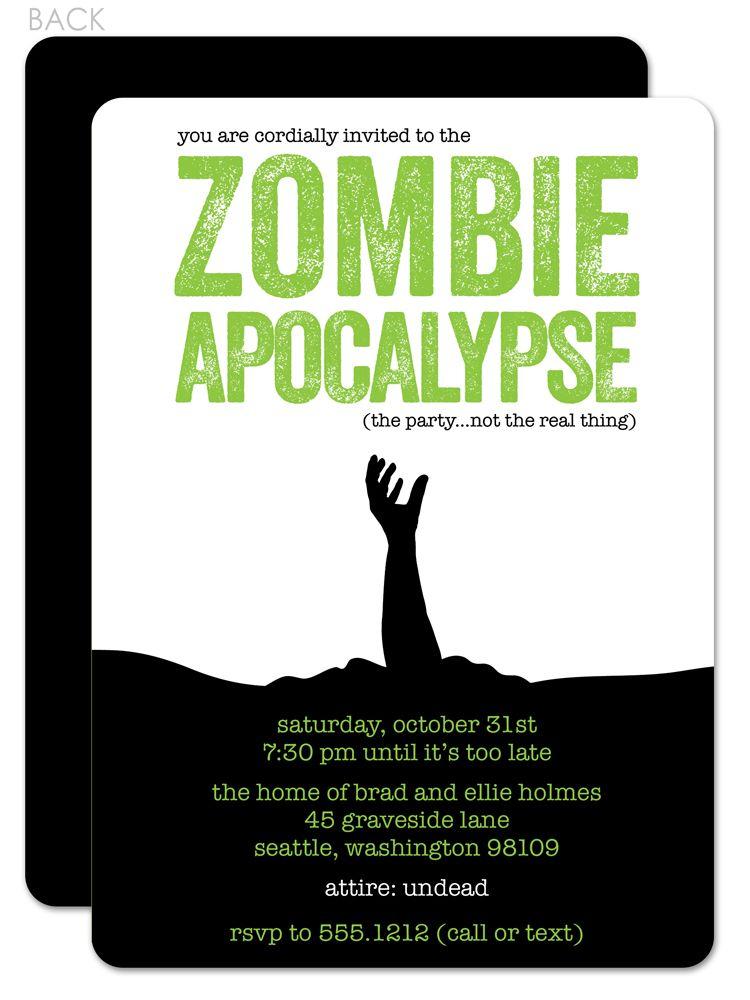 Zombie Apocalypse Invitation Zombie party Halloween zombie and