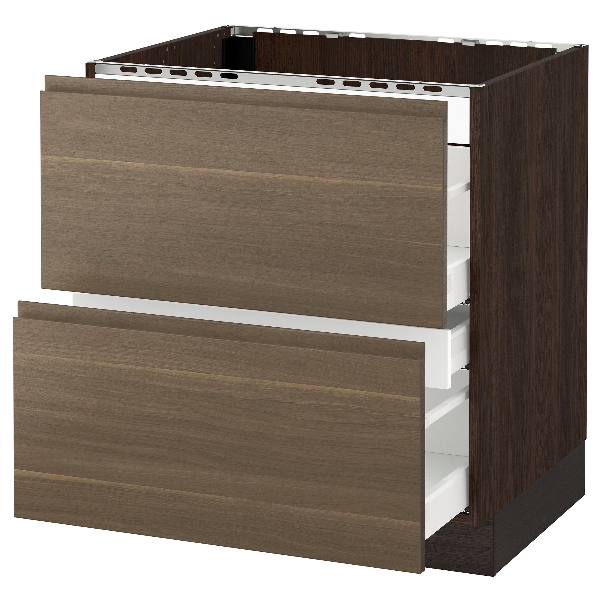 Ikea Sektion Wood Effect Brown Base Cabinet F Cooktop W 3 Drawers Base Cabinets Ikea Drawers