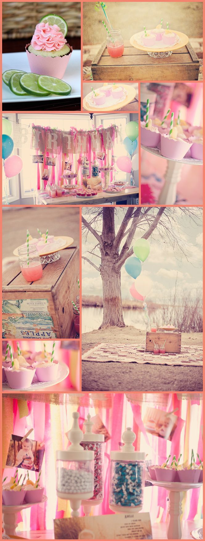 Girls 1st birthday party - Love the powder pink cupcake wrappers!!