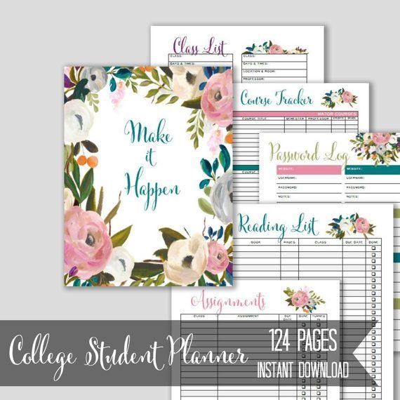 academic planner 2016 2017 college student planner printable