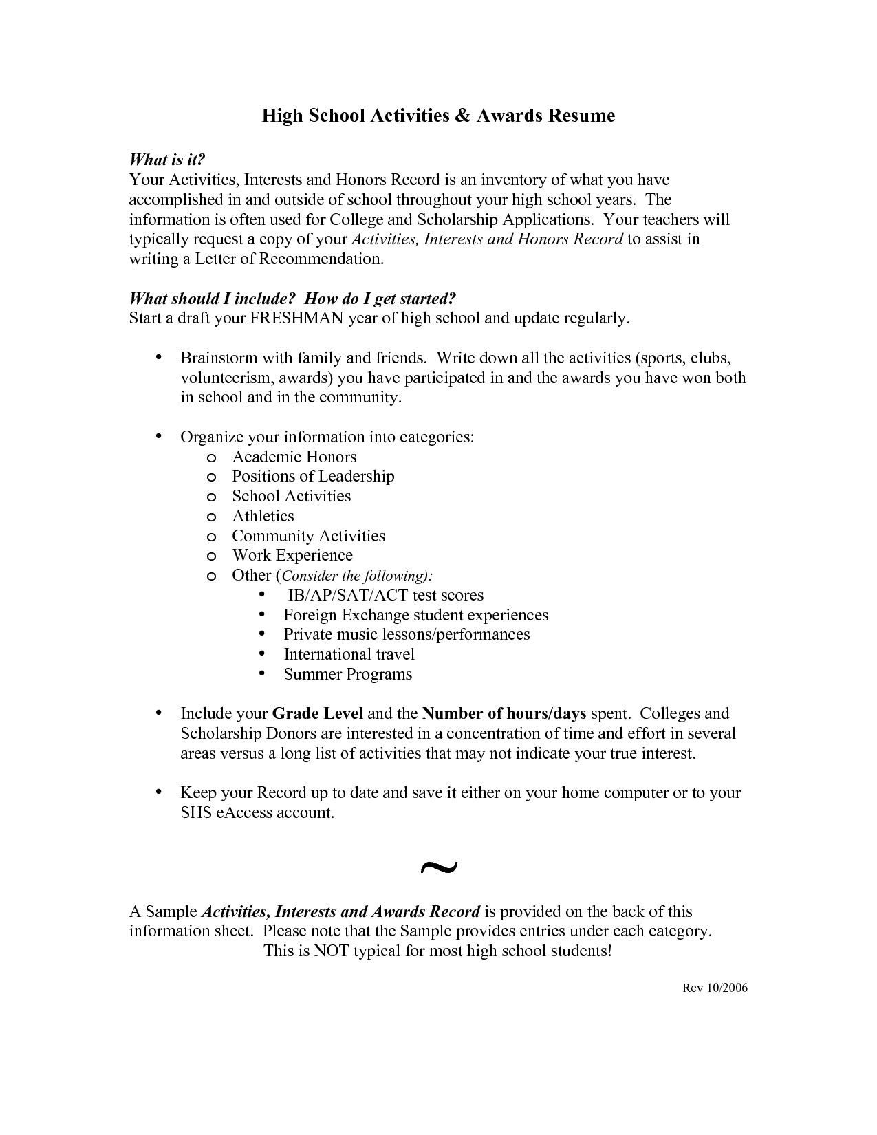 Groß High School Student Resume for College Example Resume