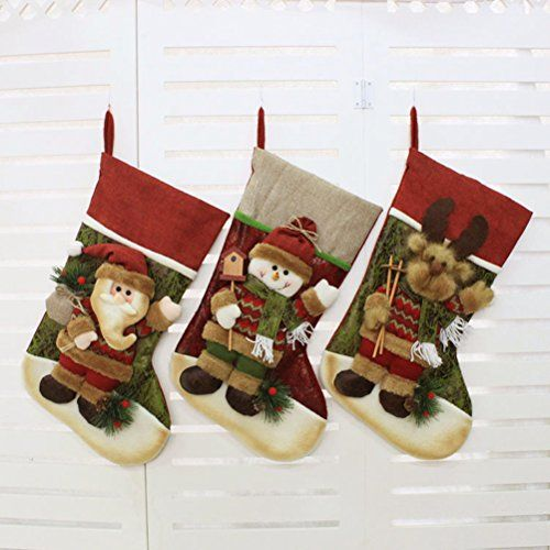 c527697ed6a Fundic Set of 3 Christmas Stockings Personalized 3D Santa Snowman Reindeer Xmas  Decorations Gift 19 Inch    Want additional info  Click on the image.