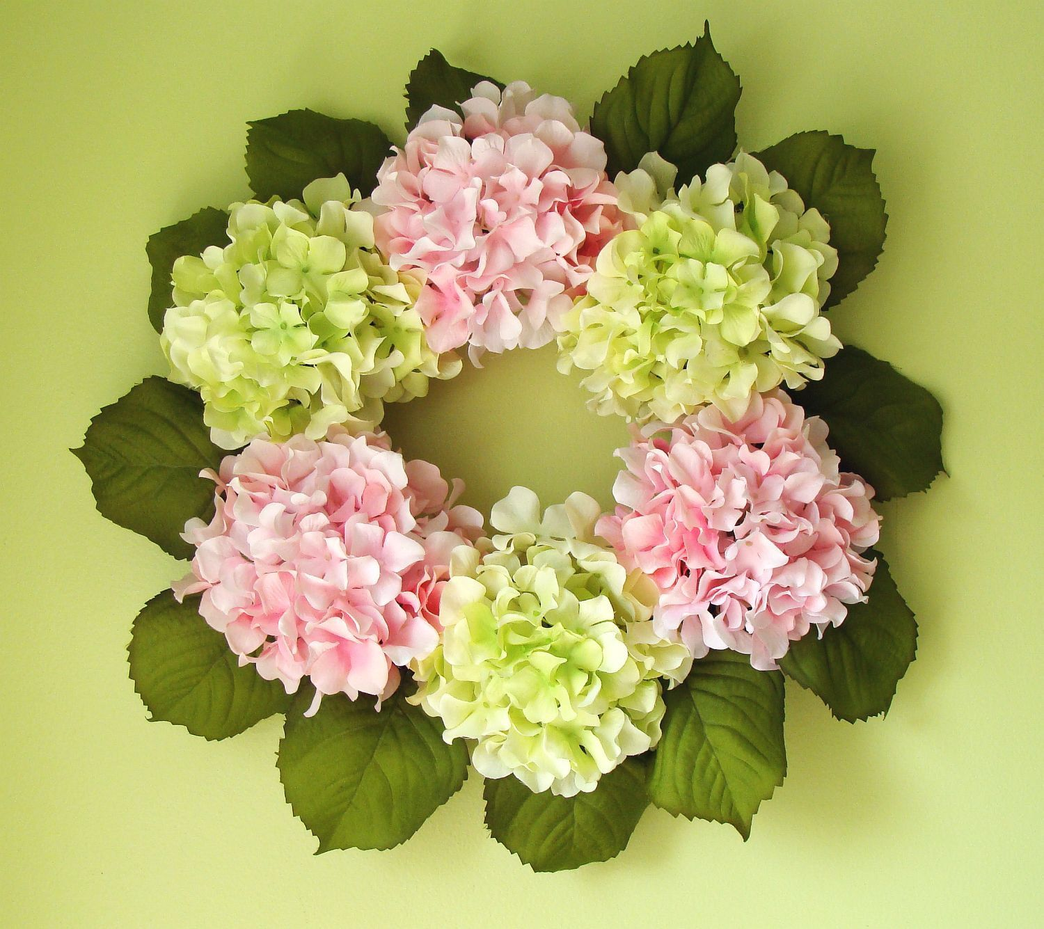 Spring Hydrangea Wreath, Girls Room Decor, Shabby Chic Decor, Wall ...