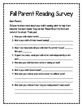 Parent Reading Survey  Parents Teacher And Students
