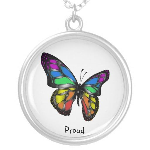 proud to be lesbian | Rainbow Butterfly Gay Lesbian Necklace Pride Proud from Zazzle.com