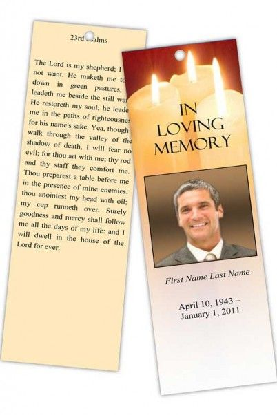 Sacred Candles Memorial Bookmark Template Microsoft publisher - memorial card templates microsoft word