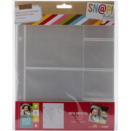 Sn@p! Insta Pocket Pages For 6 inch x 8 inch Binders, 10pk, 4 inch x - 6 inch binders