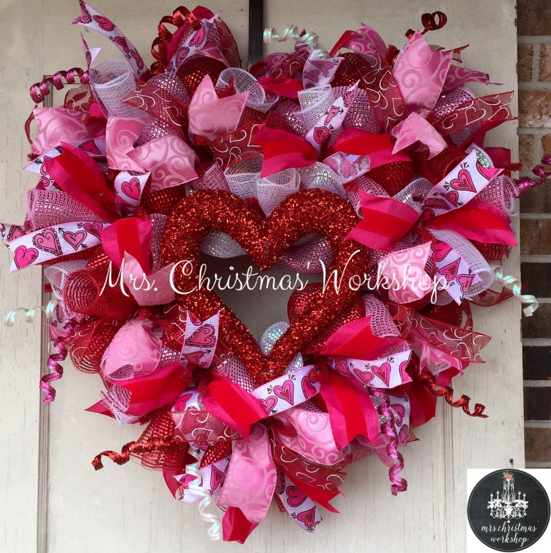 Deco Mesh Wreath Valentine Wreath Heart Wreath Valentine S Day