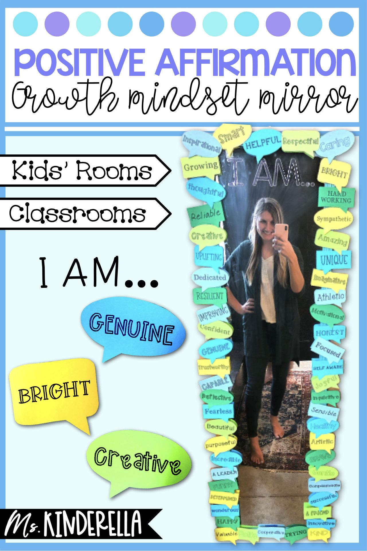 Positive Affirmation Growth Mindset Mirror For Kids Rooms