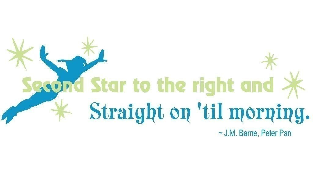 Peter Pan Second Star To The Right Quote Vinyl Decal Peter Pan