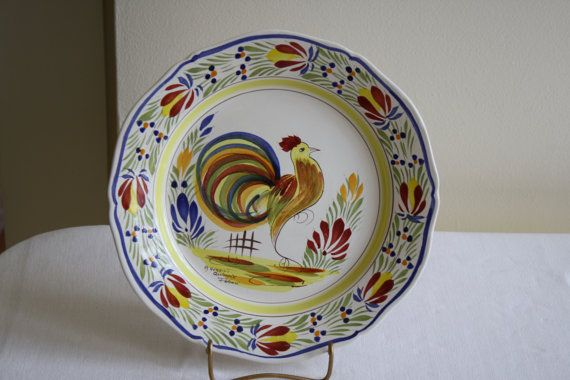 Items Similar To Vintage Quimper Rooster Plate On Etsy 닭 그림 닭