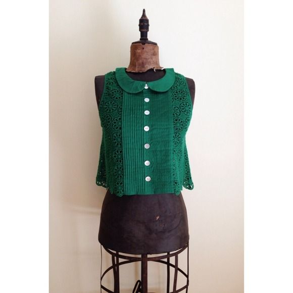 "Anthropologie Plenty by Tracy Reese top Hard to find gorgeous green crochet blouse//front pleated placket with false buttons//single button closure at the nape of the neck//feminine rounded collar//accommodates up to 36"" bust, measures 18"" long. Anthropologie Tops"