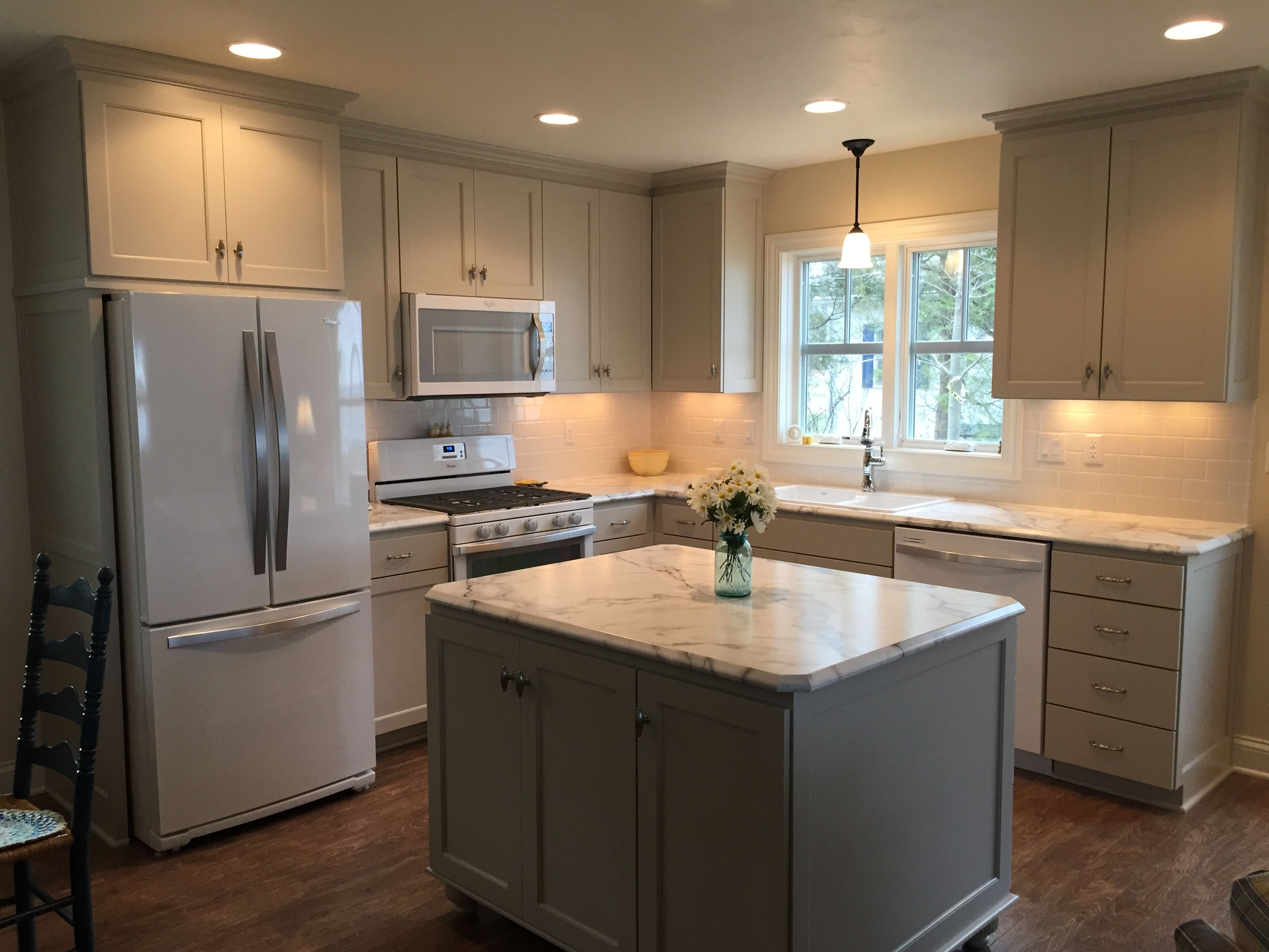Uncategorized Pictures Of White Kitchens With White Appliances gray white kitchen remodel with touches of wood centsationalgrl my new cottage custom cabinets in bm revere pewter walls gentle cream