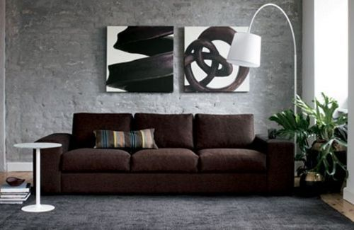 Try 2 Large Canvas Paintings Behind Sofa