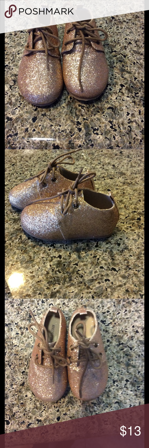 Super cute gold toddler shoes! Cute little shoes for toddler size is for 24-36 months. So typically size 4,5 for a baby is what I was told my toddler foot is a little chunky and it did not fit :/ although shoes are brand new ! Shoes