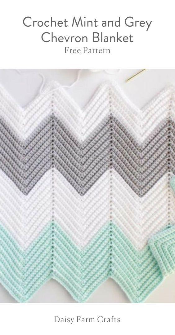 Free Pattern - Crochet Mint and Grey Chevron Blanket | Crochet and ...