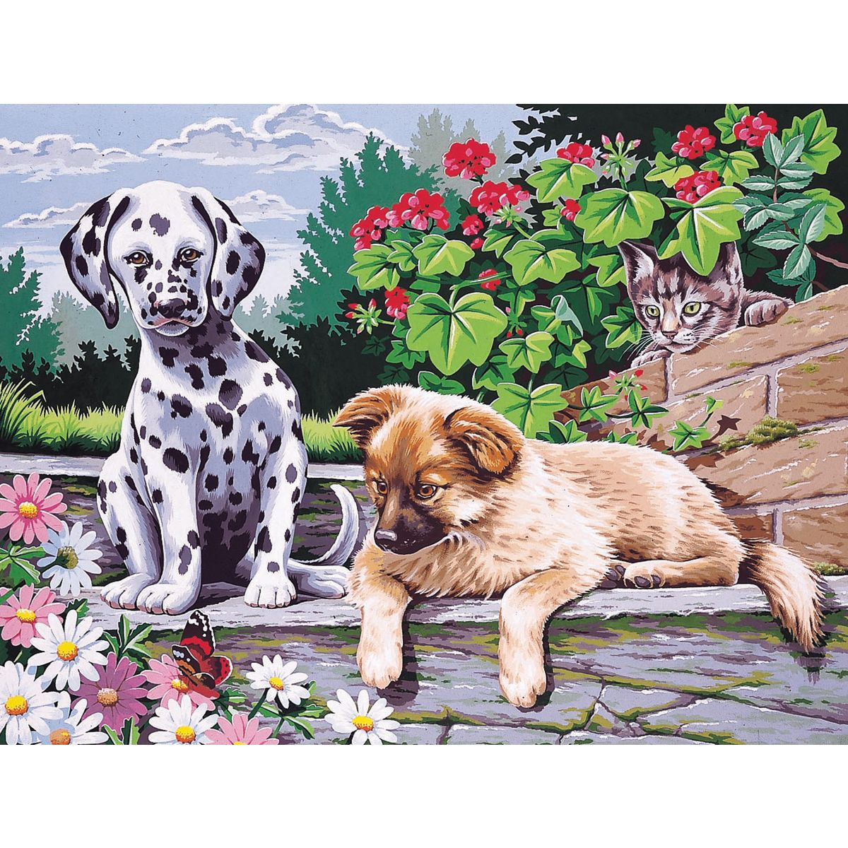 Reeves Paint By Number Kit 12inX16inDogs Watching (Dogs Watching ...