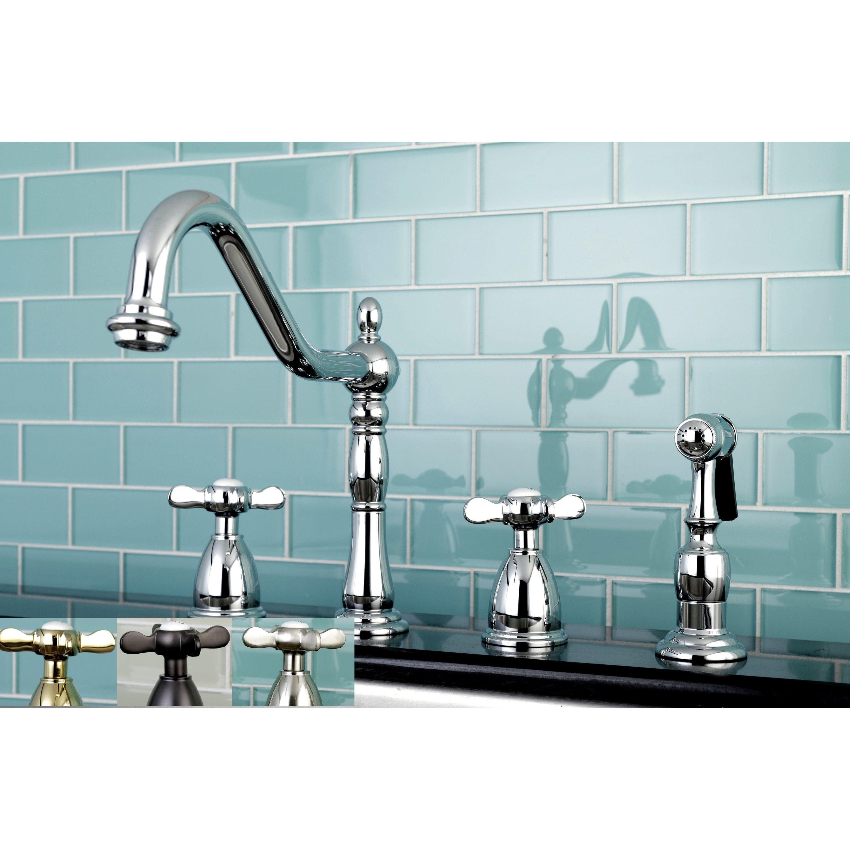 Kingston Brass Victorian Cross-Handle Kitchen Faucet w/ Side Sprayer ...