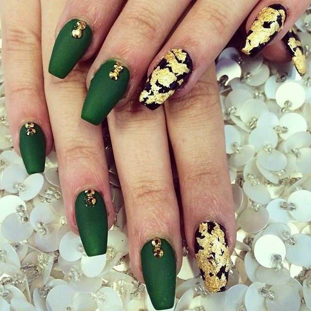 Dark green and gold nails google search nail ideas pinterest green and gold coffin nail art prinsesfo Choice Image