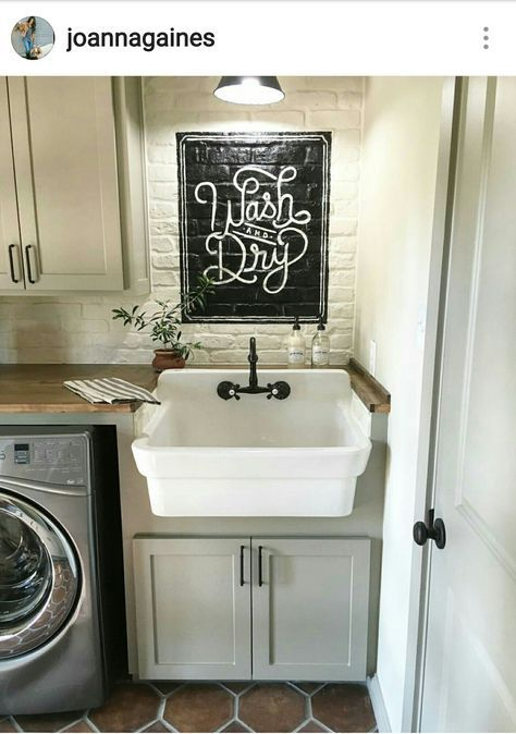 Laundry Room By Joanna Gaines From Fixer Upper On Hgtv Laundry Room Sink Laundry Room Organization Laundry Room Storage