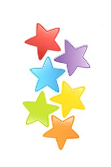 Renewing Minds, Bubble Stars Mini Cutouts, Assorted Colors, 3 inches, 36 Pieces