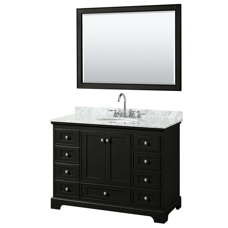 Deborah 48 Inch Dark Espresso Single Vanity Oval Sink 46 Inch
