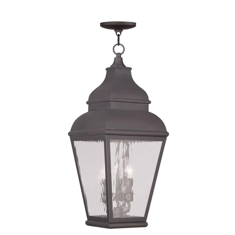 Charcoal Livex Lighting 2456-61 Vernon 3-Light Outdoor Hanging Lantern