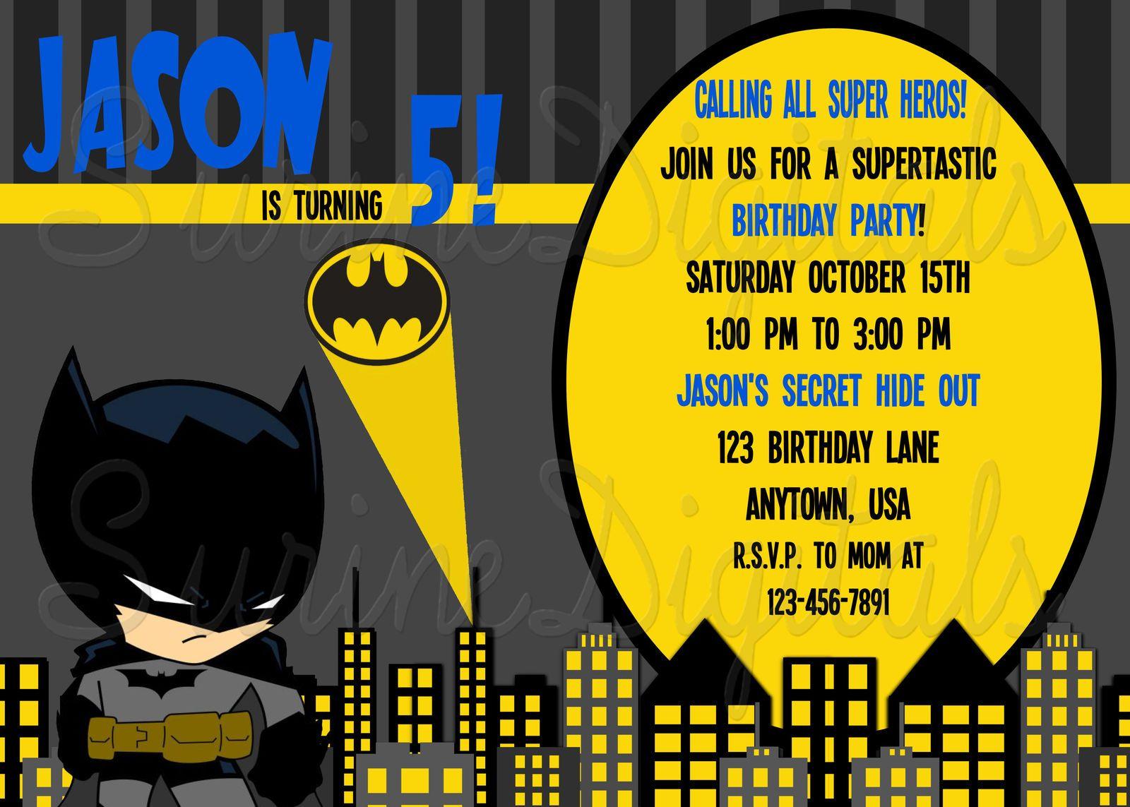 Batman Birthday party Invitation | Birthday Invitations ...
